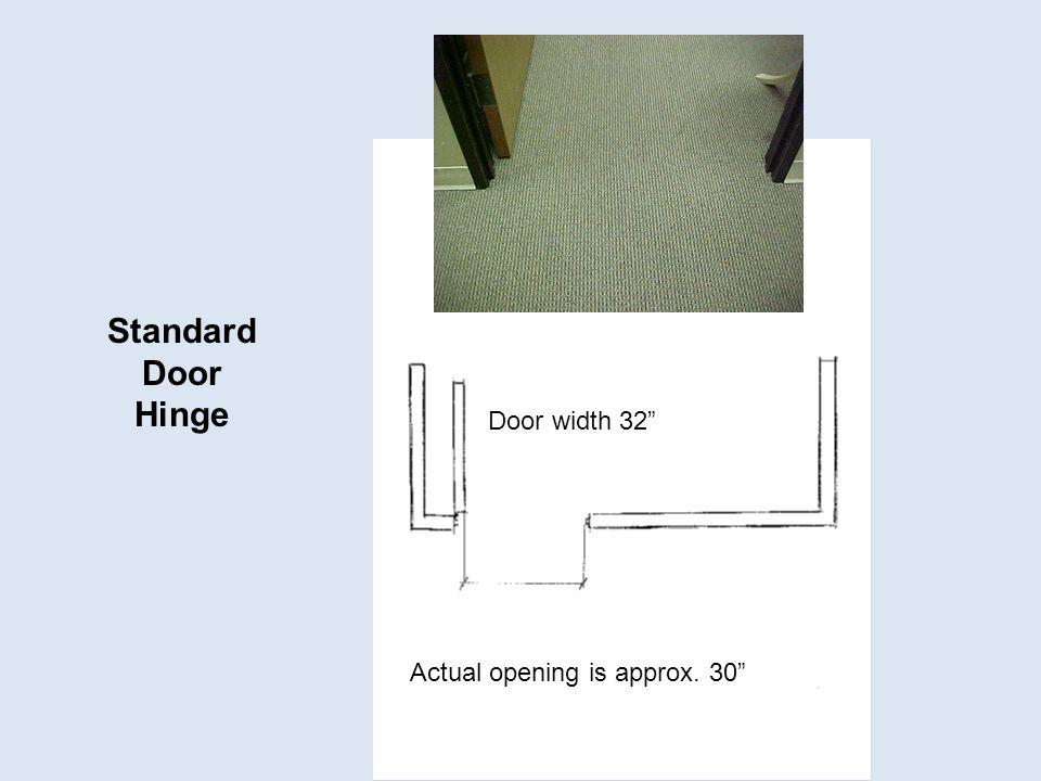 Standard Door Hinge Door width 32 Actual opening is approx. 30