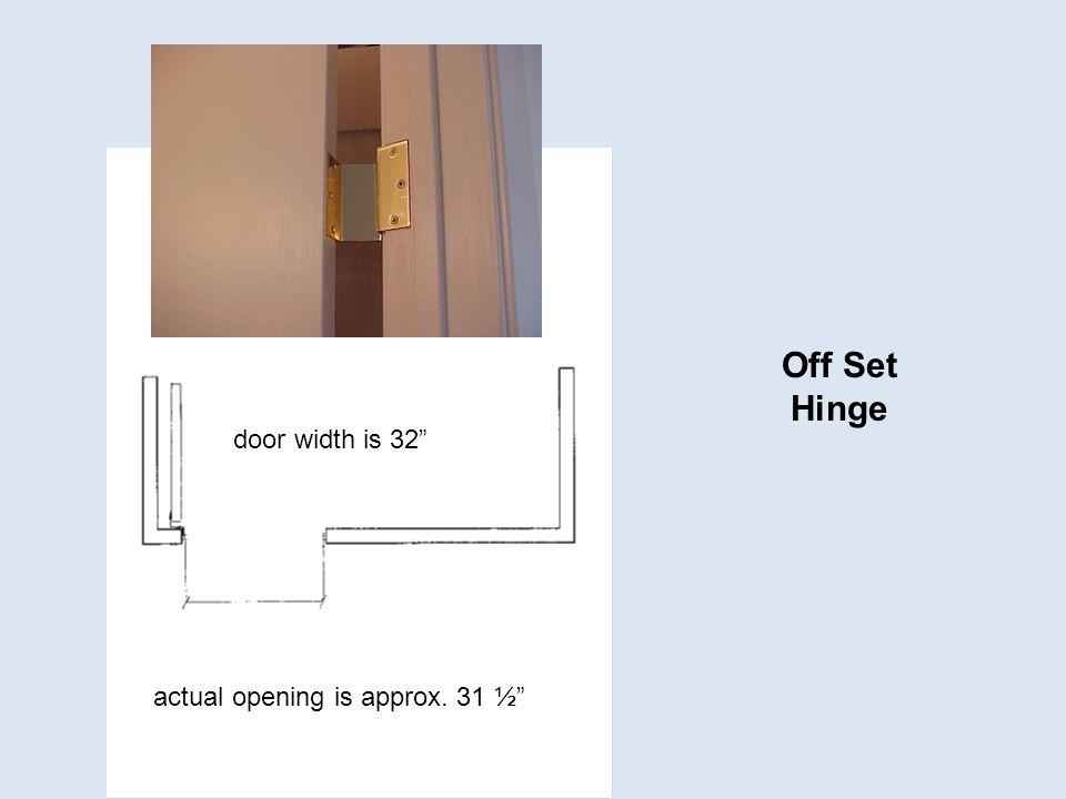 Off Set Hinge door width is 32 actual opening is approx. 31 ½