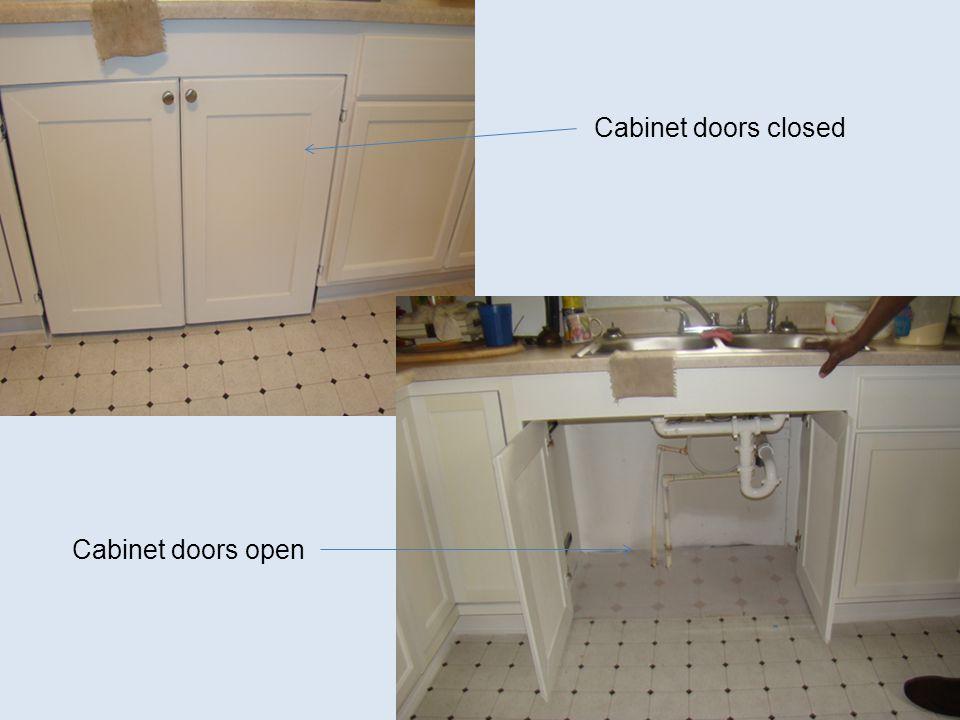Cabinet doors closed Cabinet doors open