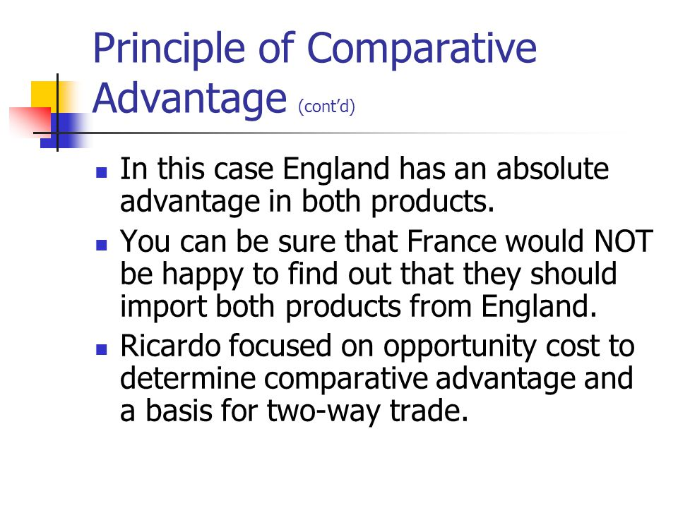 Principle of Comparative Advantage (cont'd) In this case England has an absolute advantage in both products.