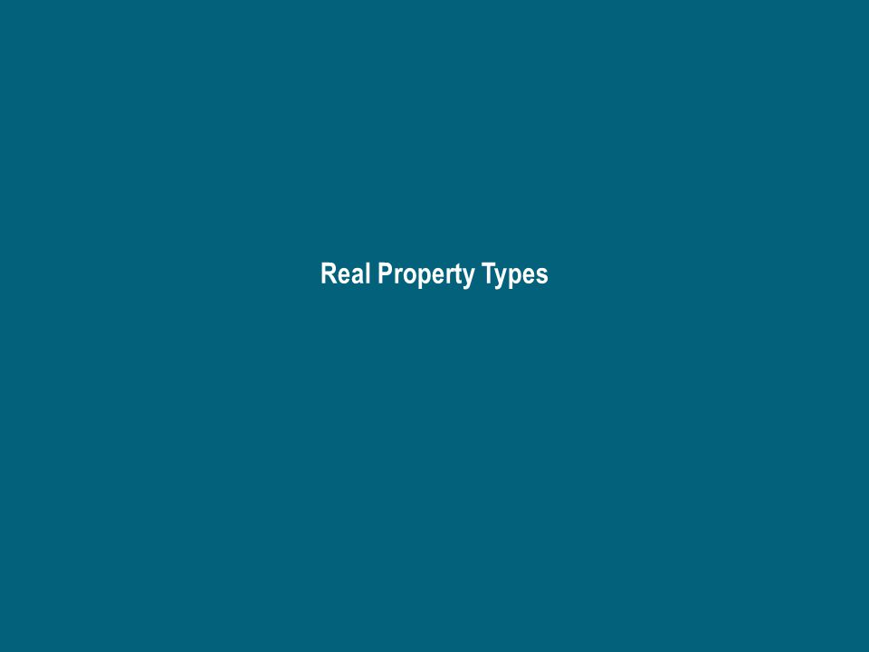 Real Property – A physical component – real property with ecological and spatial characteristics and a unique location The characteristics give the land its utility and make it important for particular purposes Land surface – agriculture, forestry, urban, wetlands, parks, scientific and natural areas, highway rights-of-way Subsurface – minerals, iron ore, copper-nickel Supersurface (air) – building space, airspace, sunshine, wind, scenery, odor Wildlife – exotic, game, non-game, pests, endangered Surface water – navigable, non-navigable