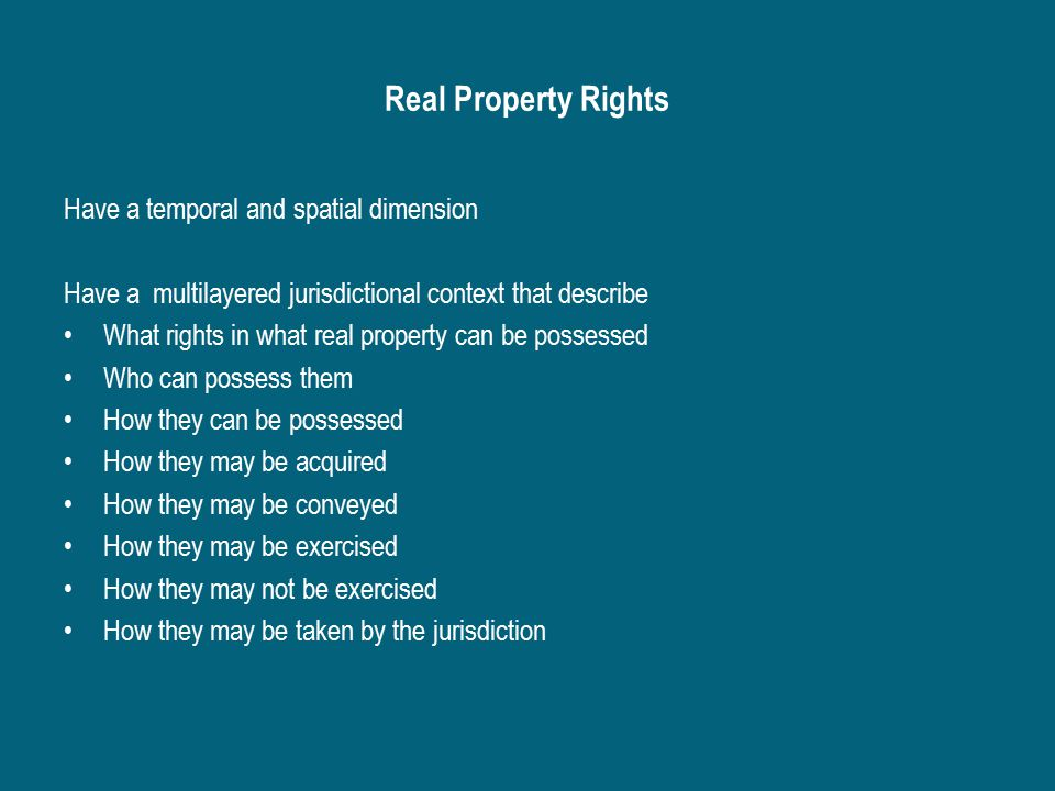 Basic Structure of Real Property Ownership Fee Title Owners – legal entity with legal rights to use property Encumbrances – legal entity with legal rights that affect the ownership rights Legal rights to the land – mortgage or another type of lien, a lease, an easement, or a restriction created by a covenant, or zoning ordinances Legal claims against the owner – mortgages, claims by other parties, court judgments, pending legal action, unpaid property and income taxes