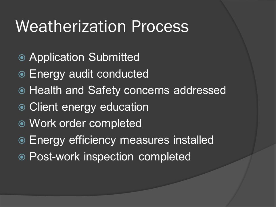 Weatherization Process  Application Submitted  Energy audit conducted  Health and Safety concerns addressed  Client energy education  Work order completed  Energy efficiency measures installed  Post-work inspection completed