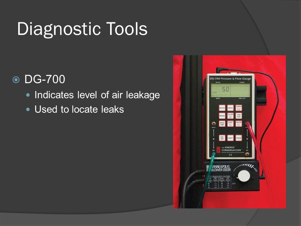 Diagnostic Tools  DG-700 Indicates level of air leakage Used to locate leaks