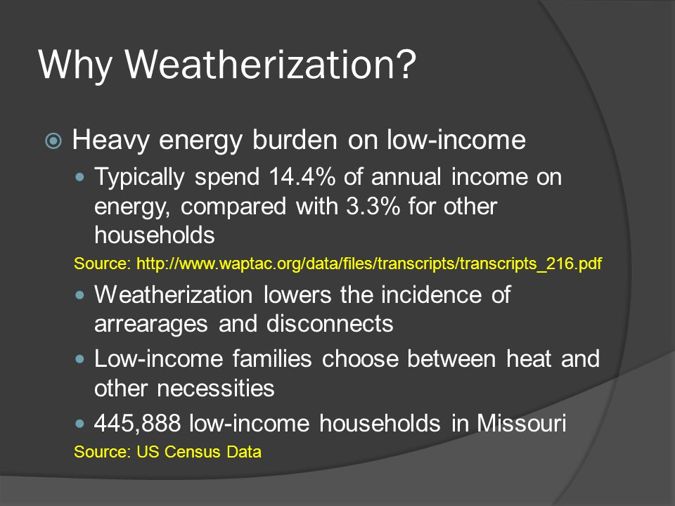 Why Weatherization.