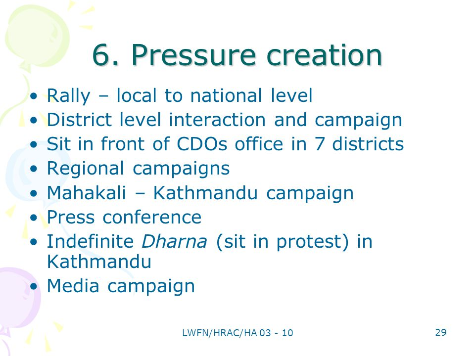 6. Pressure creation Rally – local to national level District level interaction and campaign Sit in front of CDOs office in 7 districts Regional campa