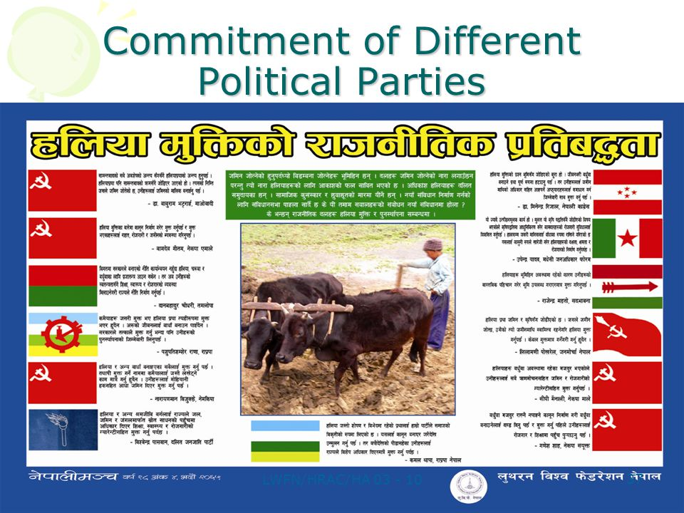 Commitment of Different Political Parties 37 LWFN/HRAC/HA 03 - 10