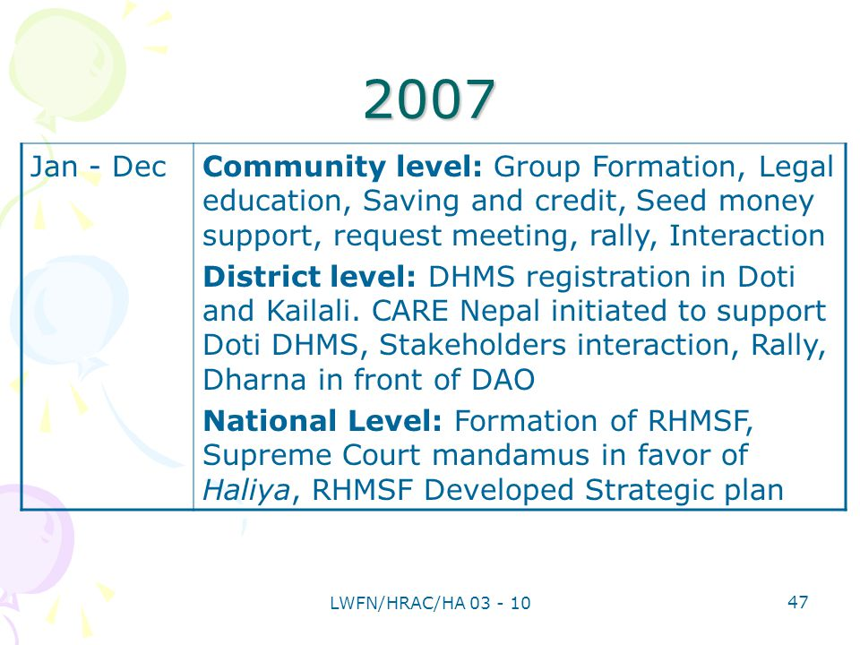 2007 Jan - DecCommunity level: Group Formation, Legal education, Saving and credit, Seed money support, request meeting, rally, Interaction District level: DHMS registration in Doti and Kailali.