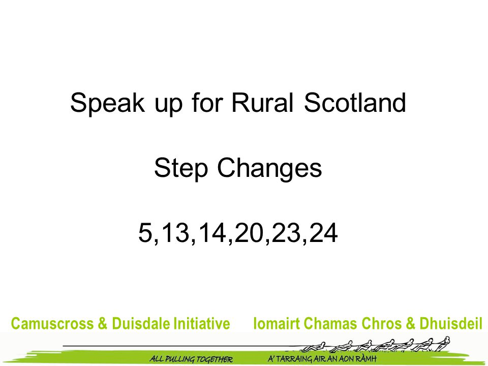 Camuscross & Duisdale Initiative Iomairt Chamas Chros & Dhuisdeil Speak up for Rural Scotland Step Changes 5,13,14,20,23,24