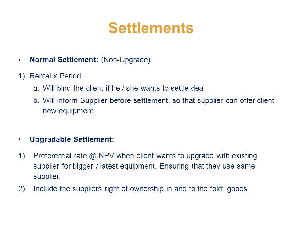 Settlements Normal Settlement: (Non-Upgrade) 1) Rental x Period a.