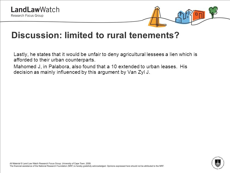 Discussion: limited to rural tenements.