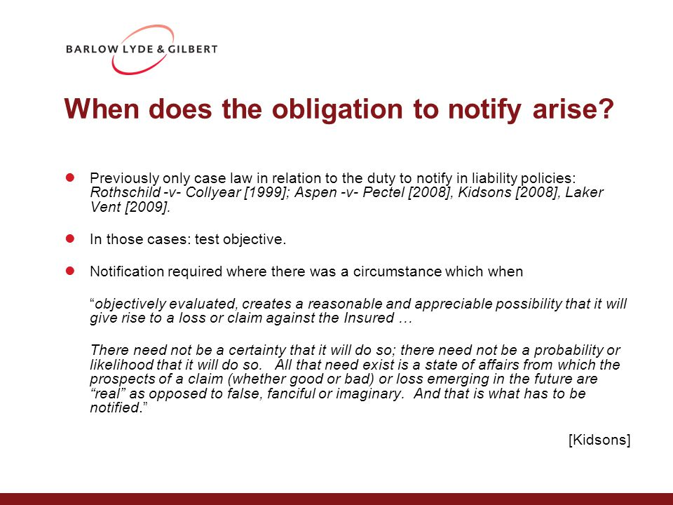 When does the obligation to notify arise.