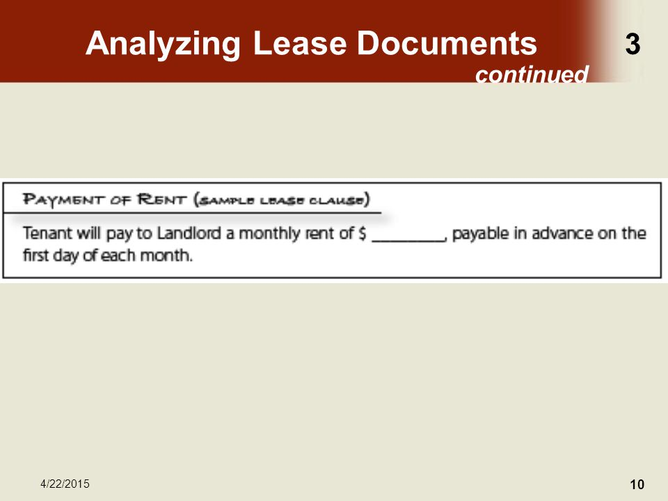 3 4/22/2015 10 Analyzing Lease Documents continued