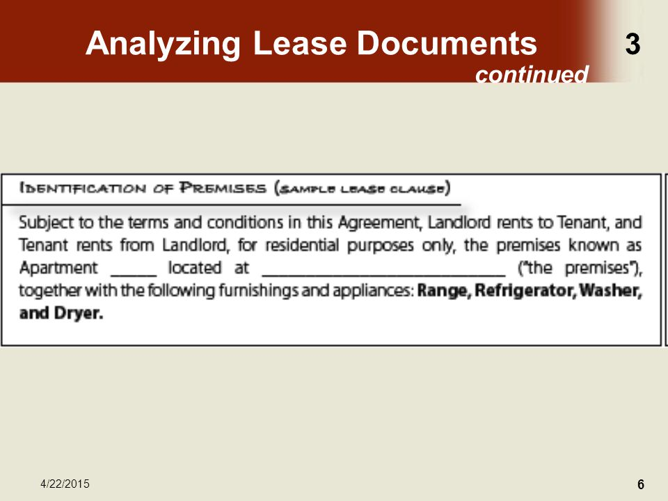 3 4/22/2015 6 Analyzing Lease Documents continued
