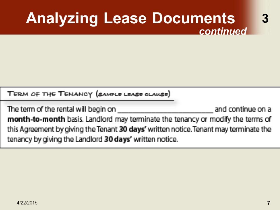 3 4/22/2015 7 Analyzing Lease Documents continued