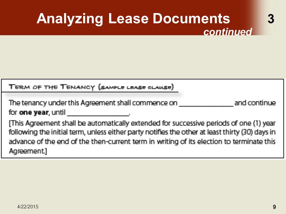 3 4/22/2015 9 Analyzing Lease Documents continued
