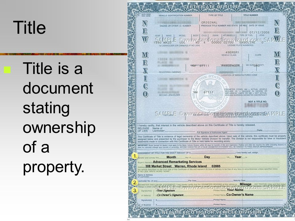Title Title is a document stating ownership of a property.