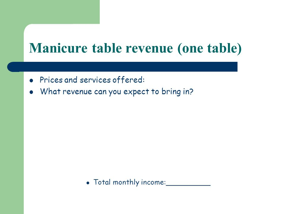 Manicure table revenue (one table) Prices and services offered: What revenue can you expect to bring in.