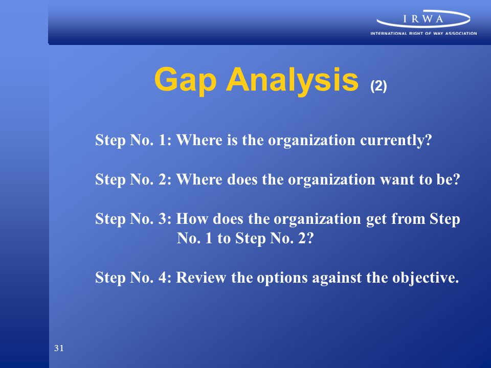 31 Gap Analysis (2) Step No. 1: Where is the organization currently.