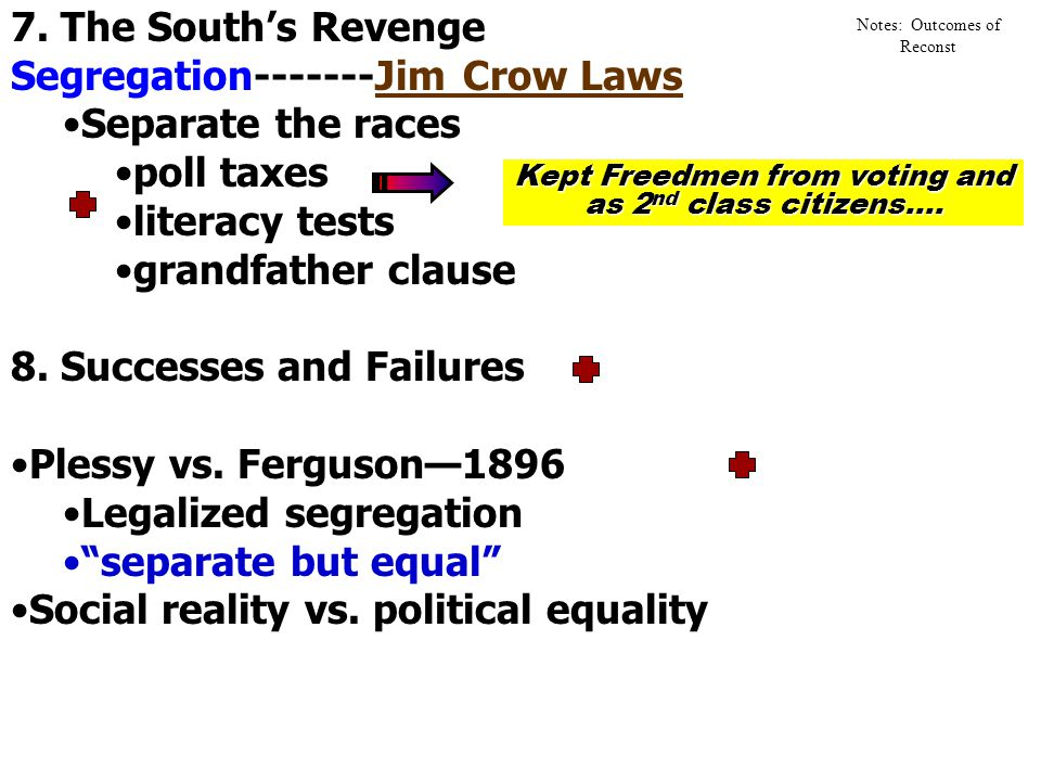 5. South's Counter Revolution Rise of KKK Sharecropping Solid South 6. Reconstruction Ends Election of 1876 Rutherford B. Hayes' Presidency Compromise