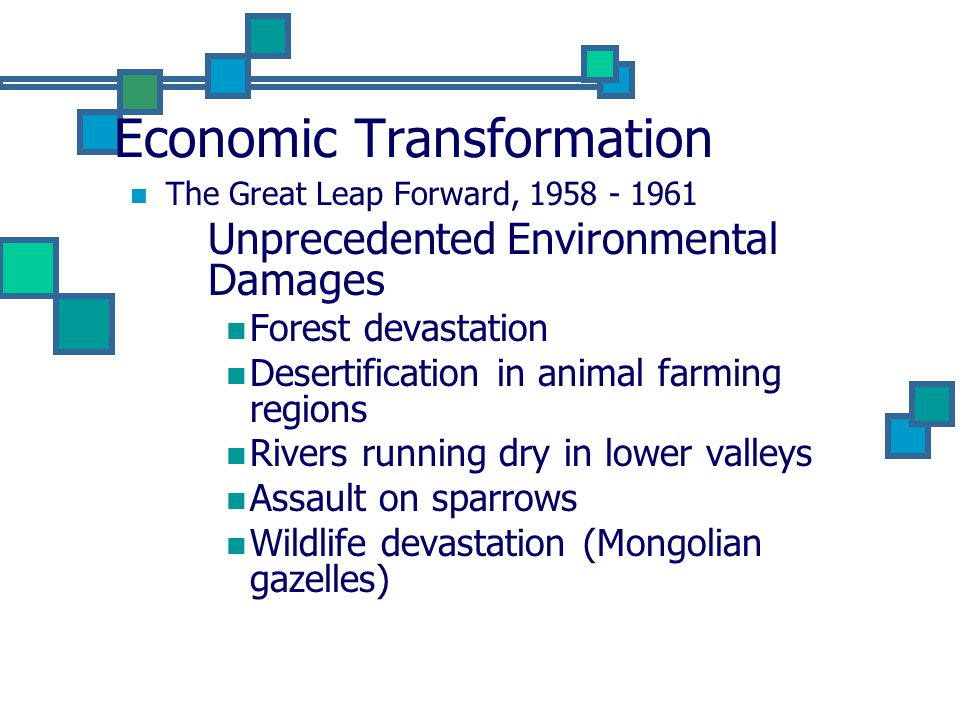 Economic Transformation The Great Leap Forward, 1958 - 1961 Unprecedented Environmental Damages Forest devastation Desertification in animal farming regions Rivers running dry in lower valleys Assault on sparrows Wildlife devastation (Mongolian gazelles)