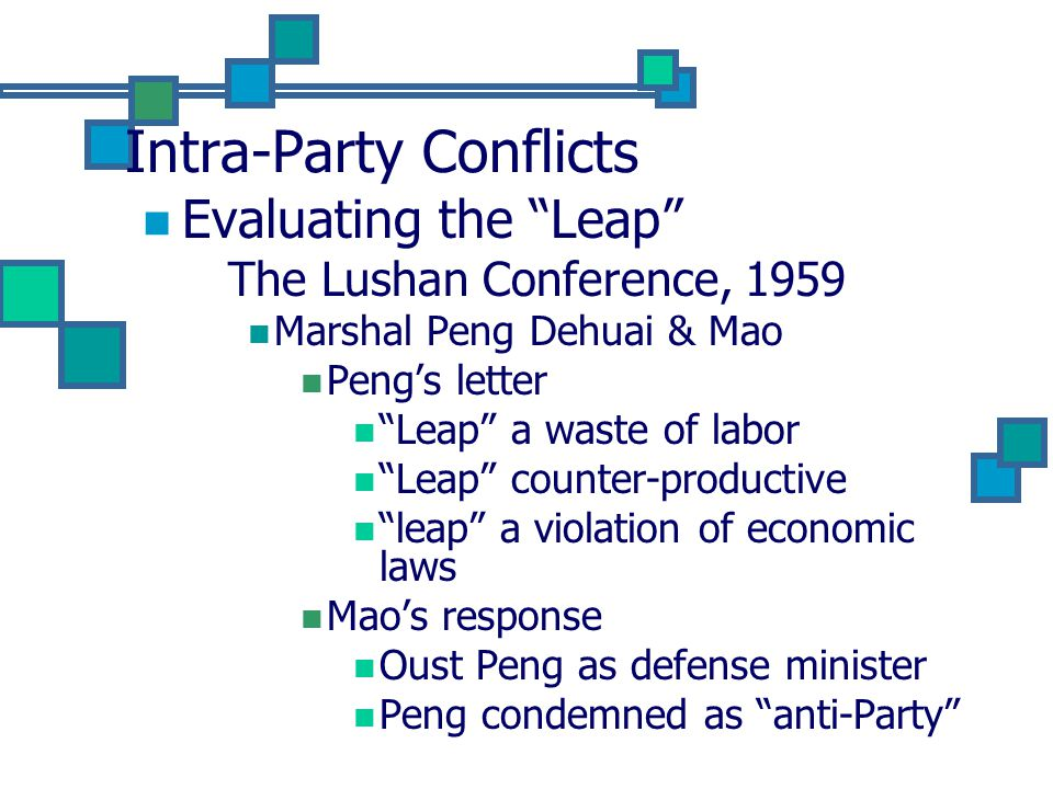 Intra-Party Conflicts Evaluating the Leap The Lushan Conference, 1959 Marshal Peng Dehuai & Mao Peng's letter Leap a waste of labor Leap counter-productive leap a violation of economic laws Mao's response Oust Peng as defense minister Peng condemned as anti-Party