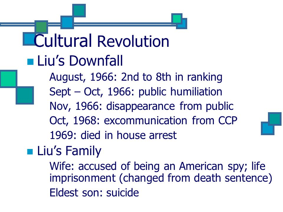 Cultural Revolution Liu's Downfall August, 1966: 2nd to 8th in ranking Sept – Oct, 1966: public humiliation Nov, 1966: disappearance from public Oct, 1968: excommunication from CCP 1969: died in house arrest Liu's Family Wife: accused of being an American spy; life imprisonment (changed from death sentence) Eldest son: suicide