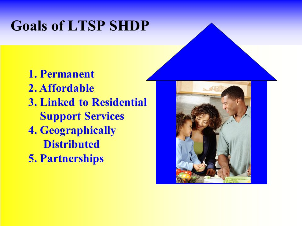 Goals of LTSP SHDP 1. Permanent 2. Affordable 3.