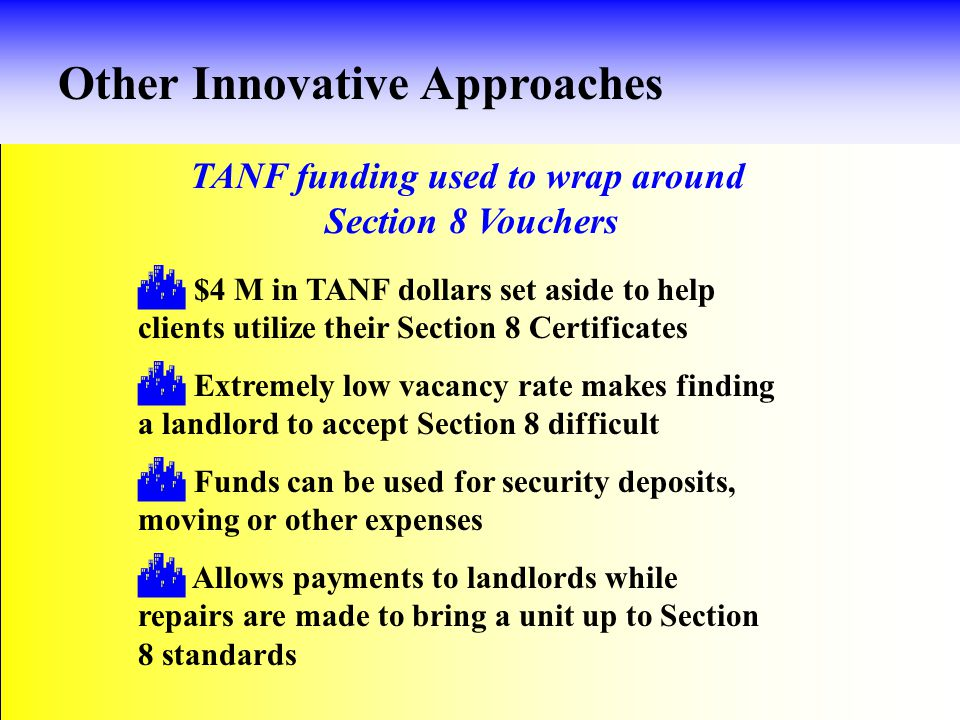 Housing Subsidy Program (MOE monies) Other Innovative Approaches  Ongoing rental assistance or one-time expenses, such as moving costs, utility turn-on or security deposit  Current & former TANF clients with earned income up to 150% of FPL, spending 40% or more of income on rent  TANF recipients who are employed and working at least 20 hrs.