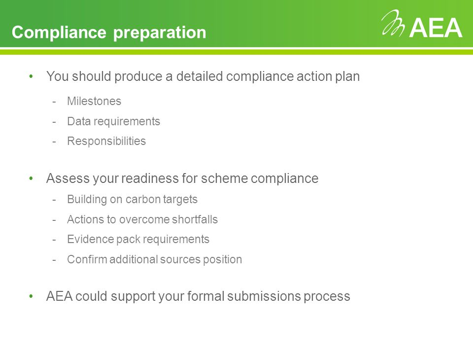 Key features Compliance preparation -Registration -2010/11 footprint data (2010/11 will be base element for recycle payments) -Annual compliance League table -Metrics and emissions performance -Carbon Trust standard and automatic meter reading -Recycle payments and reputational impacts Landlord / tenant responsibilities Trading strategy and cash flow implications