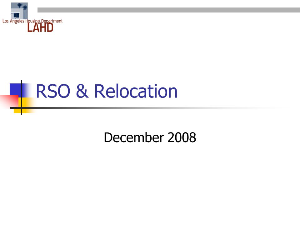 RSO & Relocation December 2008
