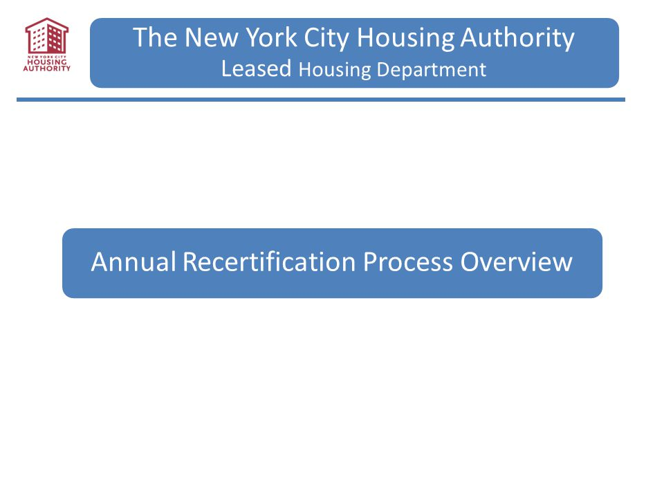 The New York City Housing Authority Leased Housing Department Annual Recertification Process Overview