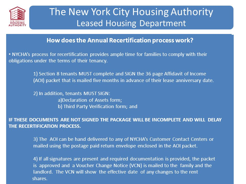 The New York City Housing Authority Leased Housing Department How does the Annual Recertification process work? NYCHA's process for recertification pr