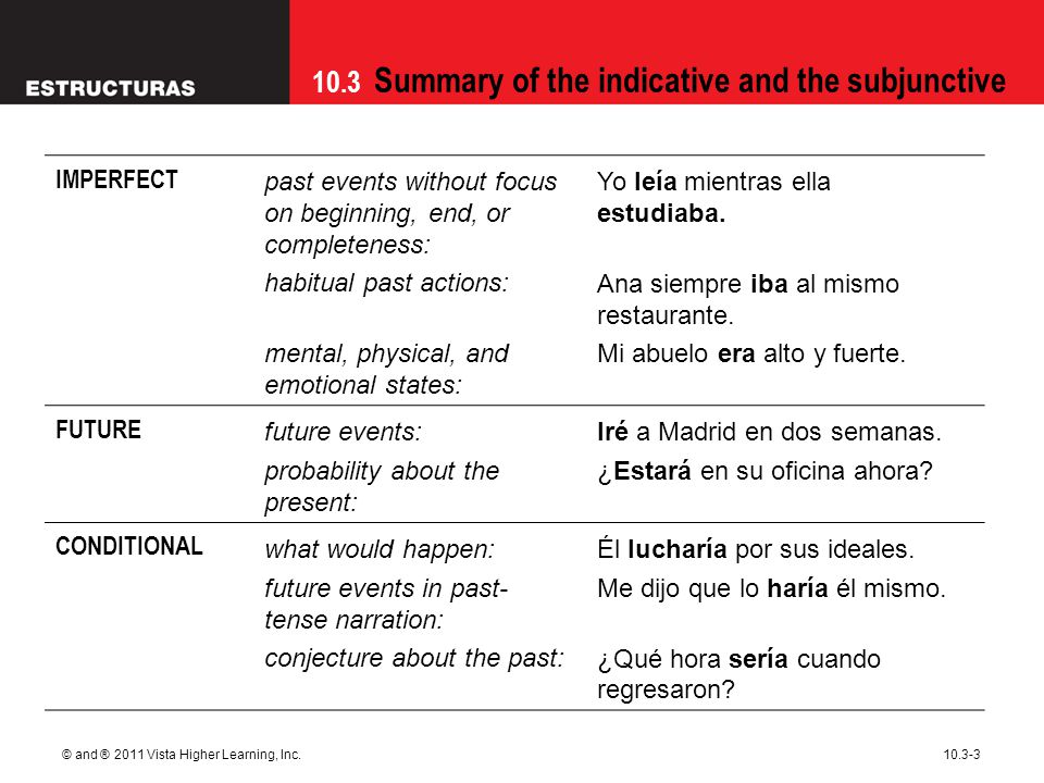 10.3 Summary of the indicative and the subjunctive © and ® 2011 Vista Higher Learning, Inc.10.3-3 IMPERFECT past events without focus on beginning, end, or completeness: habitual past actions: mental, physical, and emotional states: Yo leía mientras ella estudiaba.