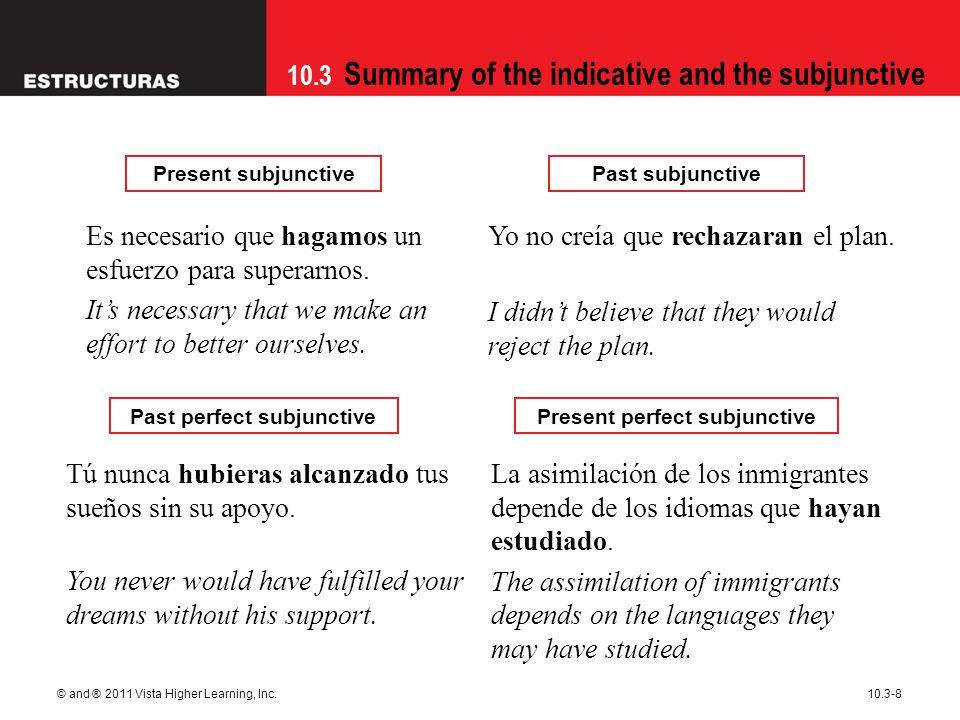 10.3 Summary of the indicative and the subjunctive © and ® 2011 Vista Higher Learning, Inc.10.3-8 Tú nunca hubieras alcanzado tus sueños sin su apoyo.