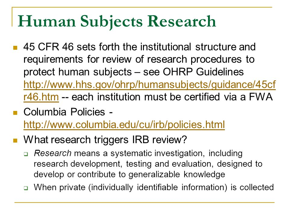 Redesigning Human Subjects Regulation What set of institutional arrangements can reconcile these tensions.