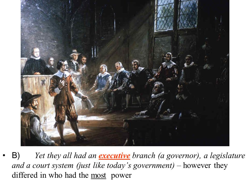 B) Yet they all had an executive branch (a governor), a legislature and a court system (just like today's government) – however they differed in who had the most power