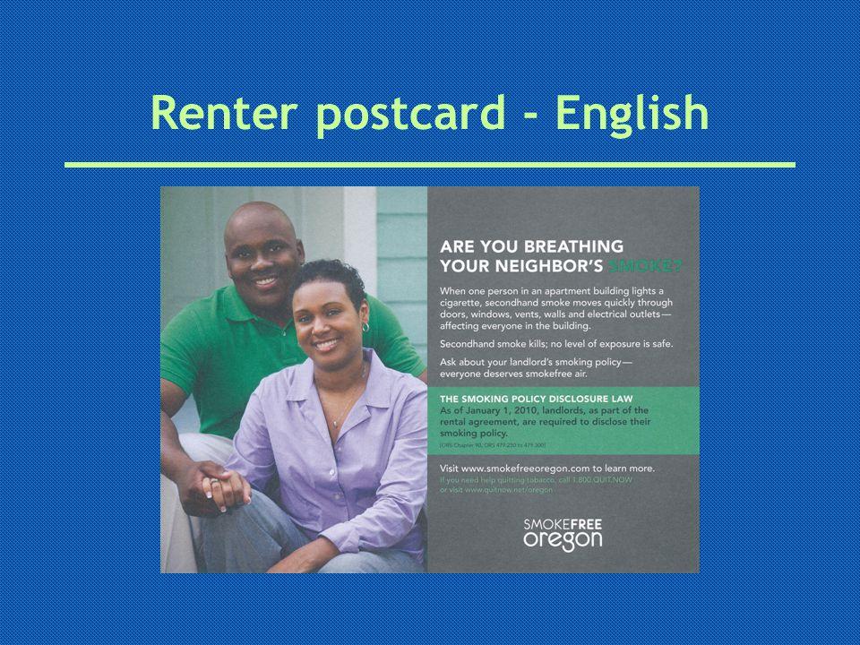 Renter postcard - English