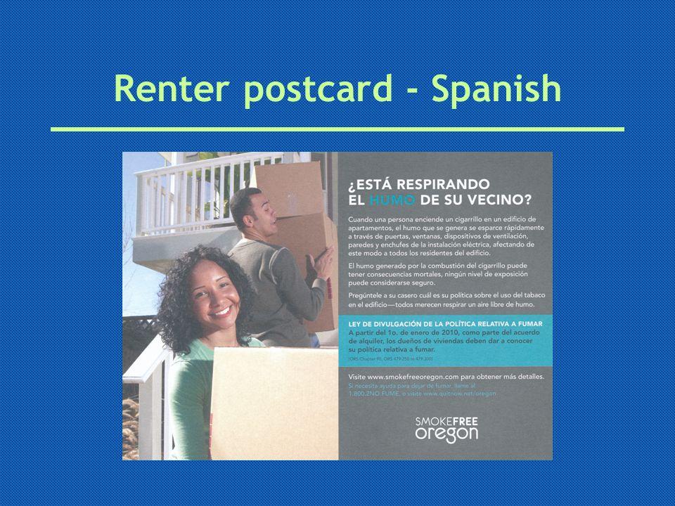 Renter postcard - Spanish
