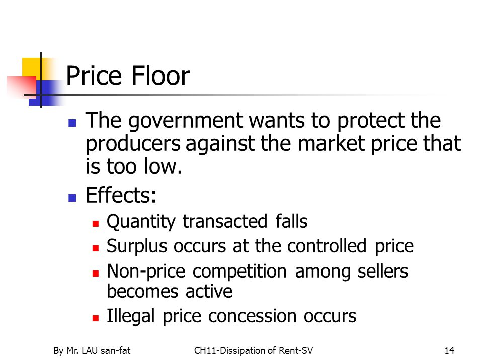 By Mr. LAU san-fatCH11-Dissipation of Rent-SV14 Price Floor The government wants to protect the producers against the market price that is too low. Ef