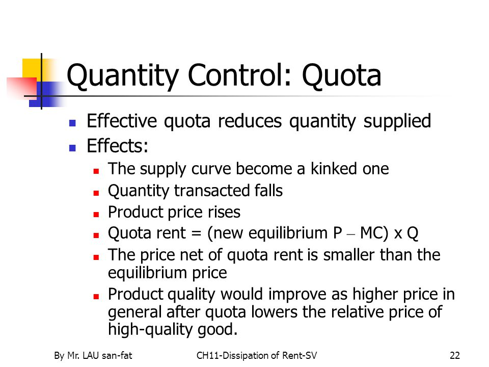 By Mr. LAU san-fatCH11-Dissipation of Rent-SV22 Quantity Control: Quota Effective quota reduces quantity supplied Effects: The supply curve become a k