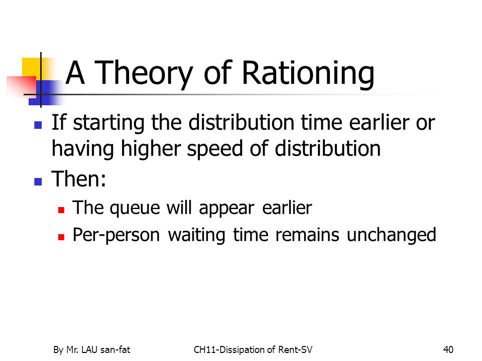 By Mr. LAU san-fatCH11-Dissipation of Rent-SV40 A Theory of Rationing If starting the distribution time earlier or having higher speed of distribution