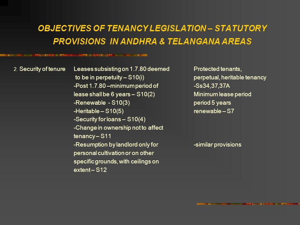 OBJECTIVES OF TENANCY LEGISLATION – STATUTORY PROVISIONS IN ANDHRA & TELANGANA AREAS 2.