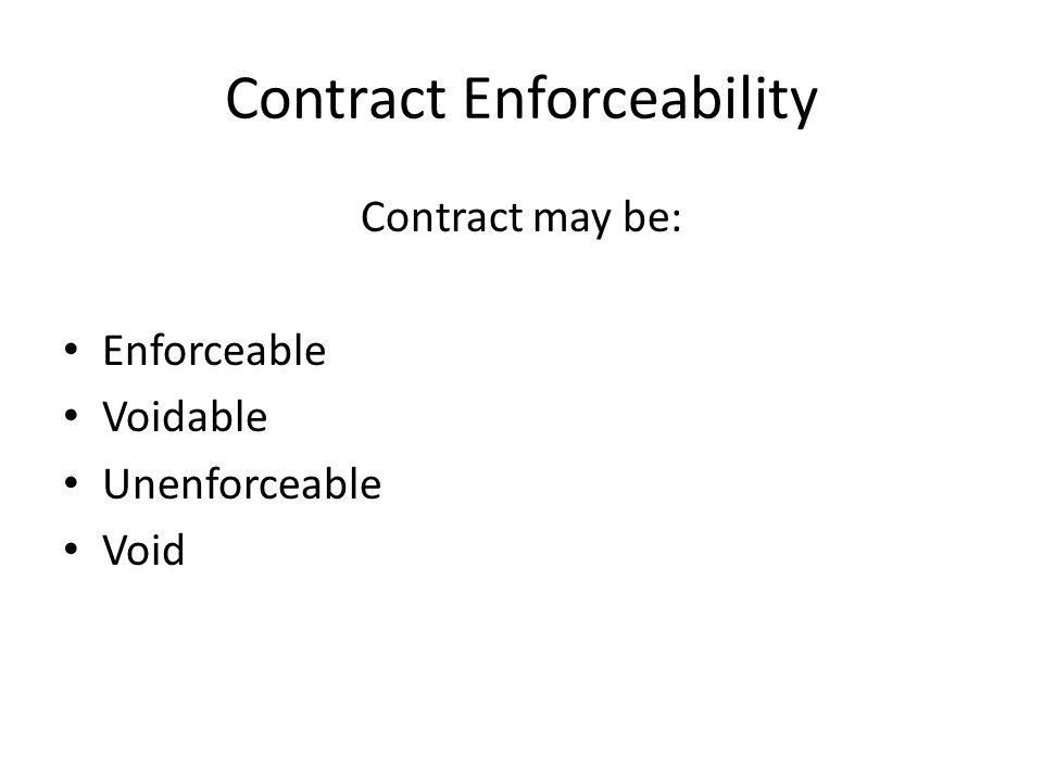 Contract Enforceability Contract may be: Enforceable Voidable Unenforceable Void