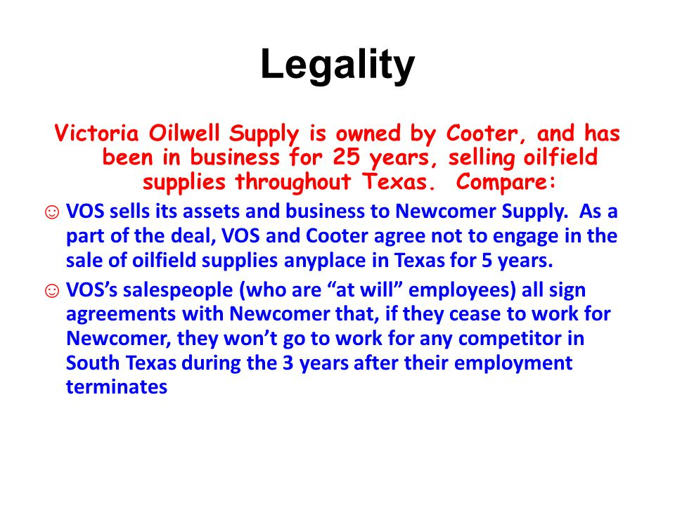 Legality Victoria Oilwell Supply is owned by Cooter, and has been in business for 25 years, selling oilfield supplies throughout Texas.