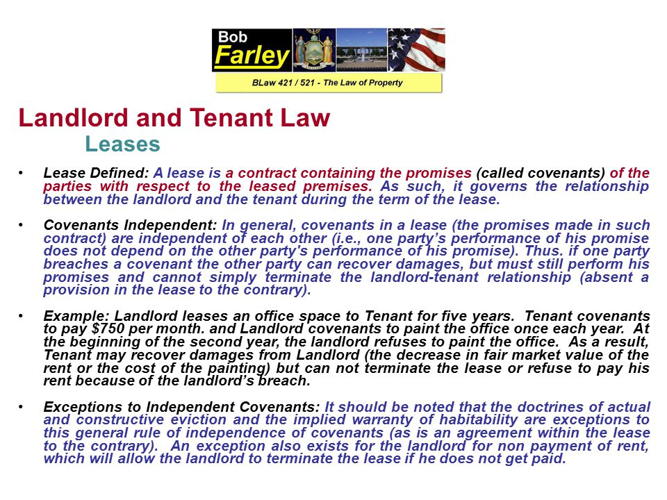 Landlord and Tenant Law Types of Leasehold Interests (Tenancies) Tenancy at Sufferance C. Holding Over When a tenant continues in possession of the pr