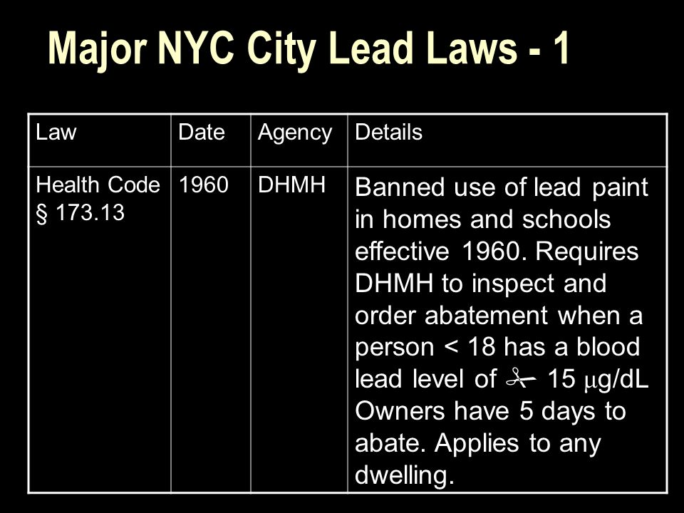 Major NYC City Lead Laws - 1 LawDateAgencyDetails Health Code § 173.13 1960DHMH Banned use of lead paint in homes and schools effective 1960.