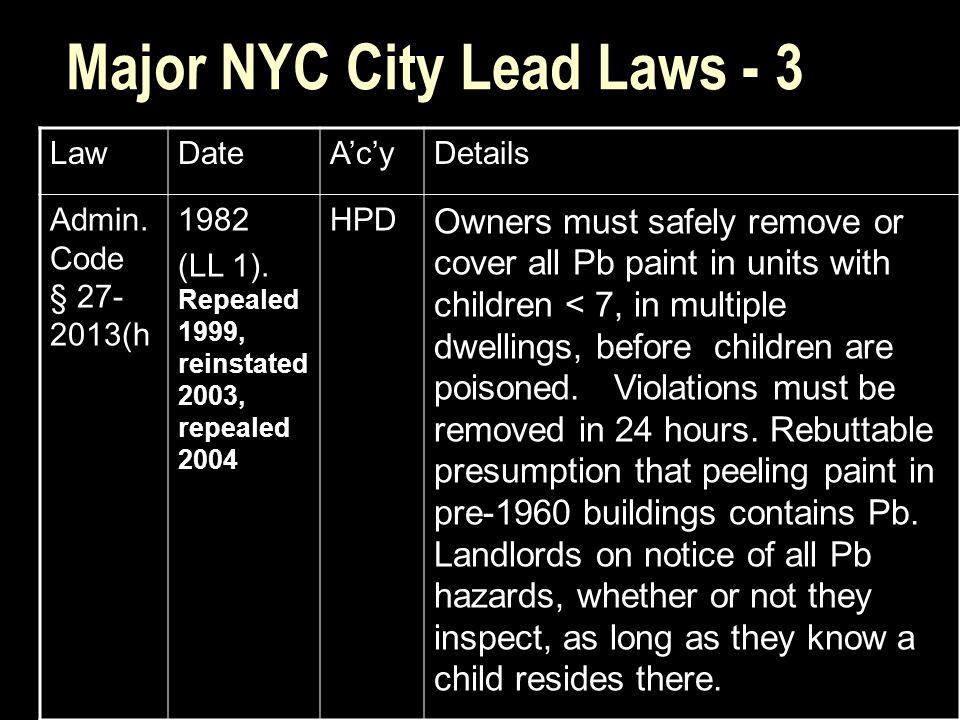 Major NYC City Lead Laws - 3 LawDateA'c'yDetails Admin.