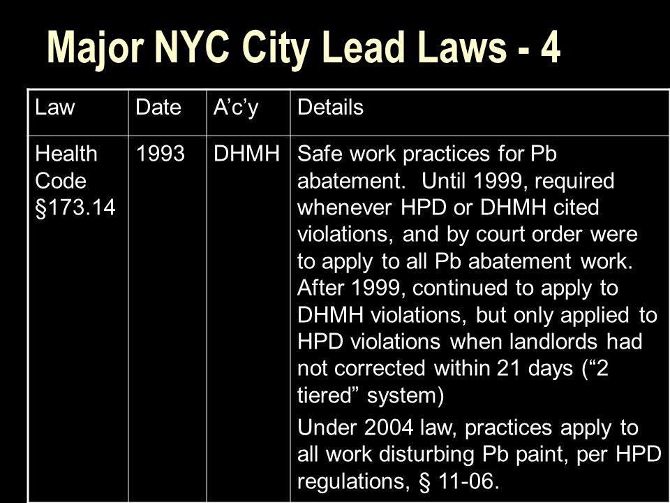 Major NYC City Lead Laws - 4 LawDateA'c'yDetails Health Code §173.14 1993DHMHSafe work practices for Pb abatement.