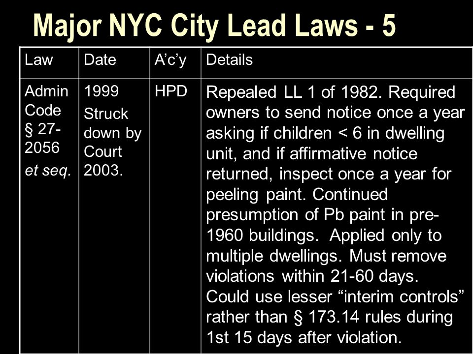 Major NYC City Lead Laws - 5 LawDateA'c'yDetails Admin Code § 27- 2056 et seq.